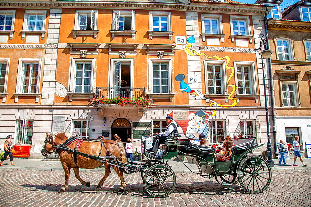 Maria Sklodowska Curie Museum, Nowe Miasto Neighbourhood, Warsaw, Poland with Tourists in Horse and Carriage.