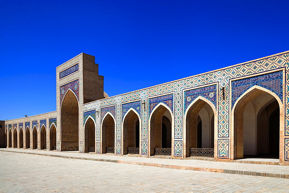 Islamic architecture in courtyard, Kalon Mosque, also known as Kalyan Mosque, Poi Kalon, Bukhara, Uzbekistan.