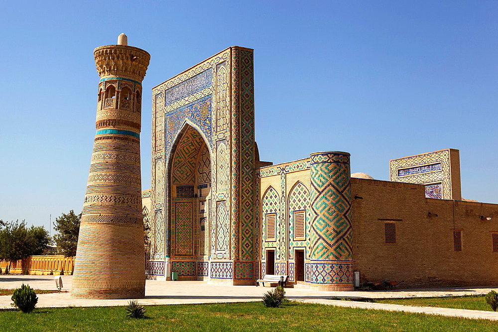 Ulugh Beg Madrasah and Minaret at Memorial Complex of Al Gijduvani, Gijduvan, near Bukhara, Uzbekistan.