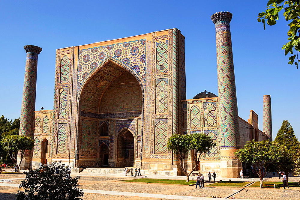 Ulugh Beg Madrasah, also known as Ulugbek Madrasah, Registan Square, Samarkand, Uzbekistan.