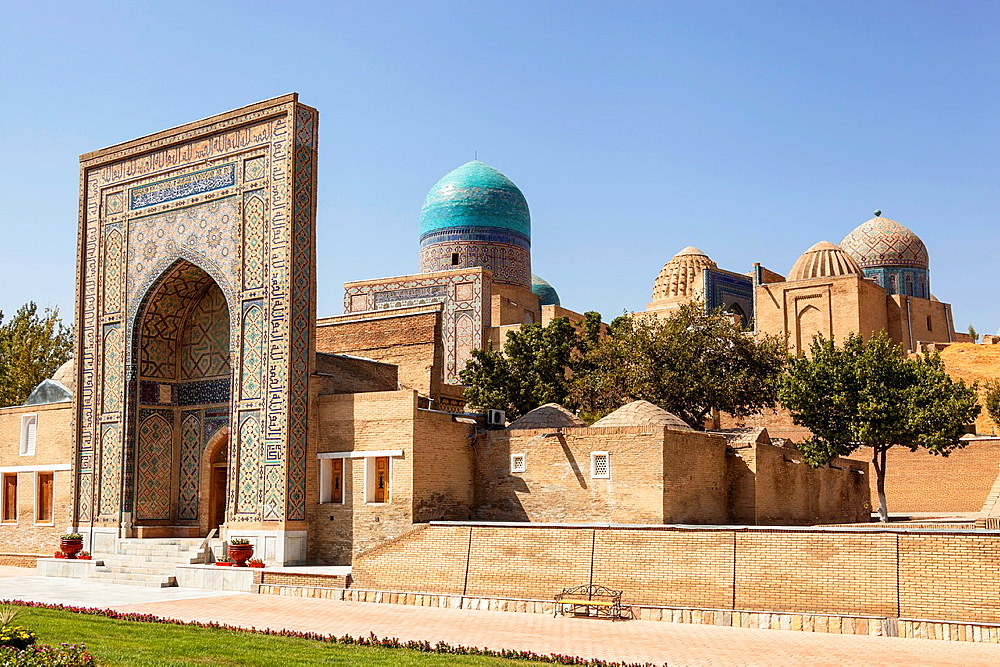 Entrance to Shah-i-Zinda, also known as Shah I Zinda and Shah-i Zinda, Samarkand, Uzbekistan.