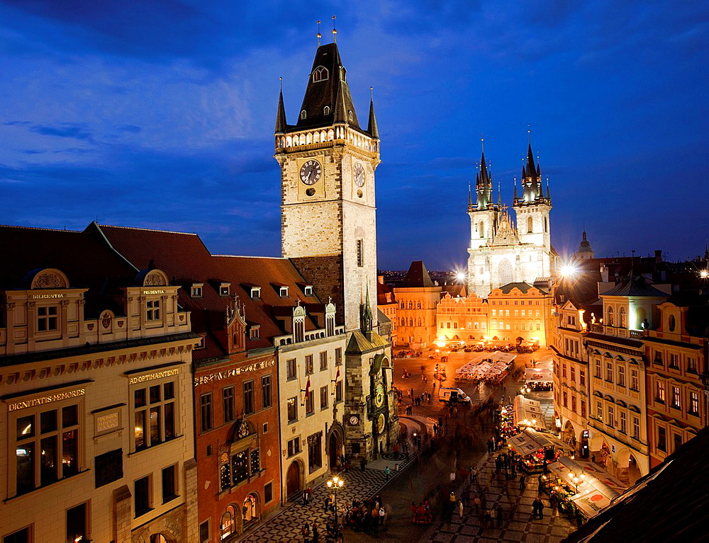 Old Town Hall, on background Church of Mother of God before T˝n or Church of Our Lady before Tyn, Old Town Square, Staromestske namesti, Prague, Czech Republic Europe.