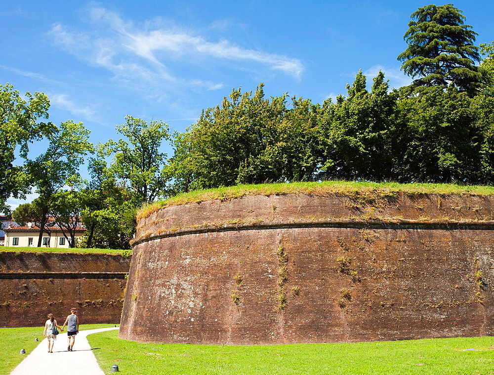 Walls of Lucca, Lucca, Tuscany, Italy, Europe.