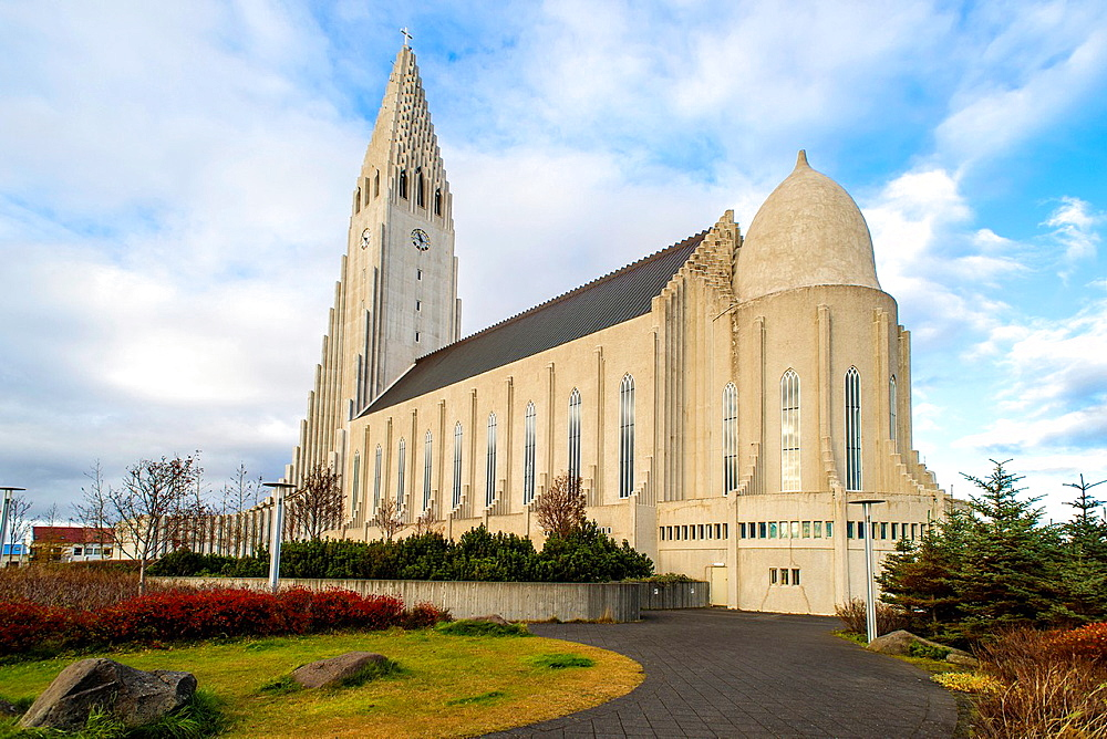 Hallgrimskirkja Cathedral outside views, Reykjavik, Iceland.