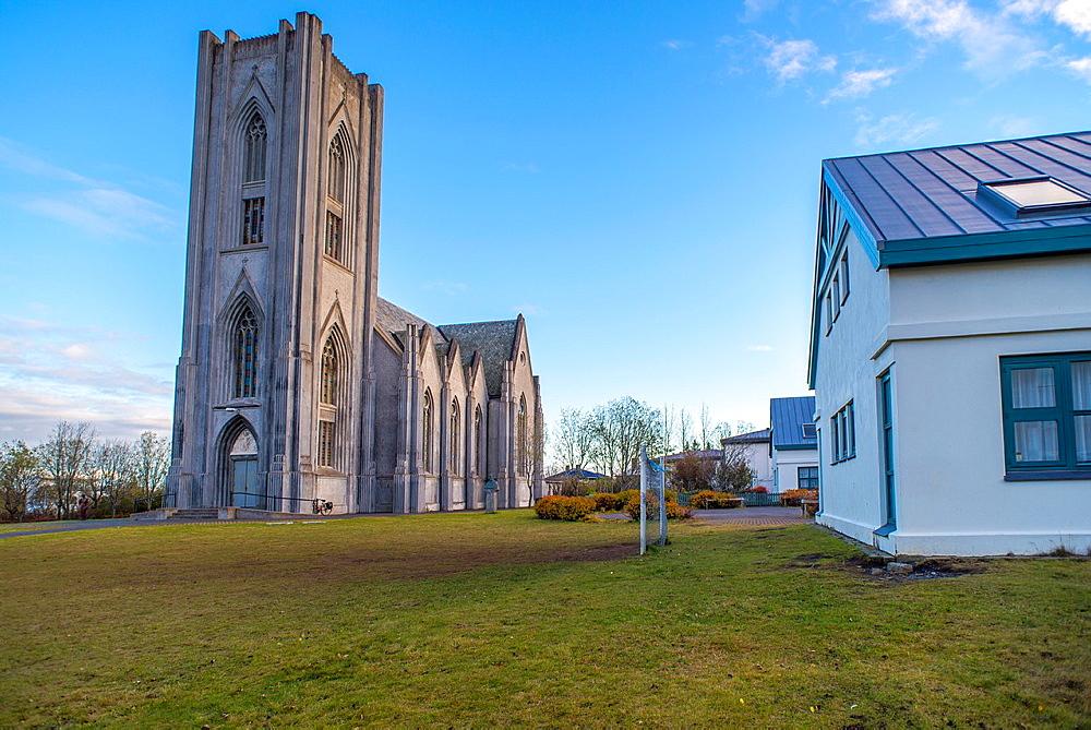 Church Landakotskirkja in Reykjavik old town, city centre by night. Iceland.