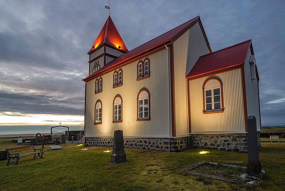 Kalfatjarnarkirkja, Kalfatjarnarvollur, Serdurnes, Iceland.