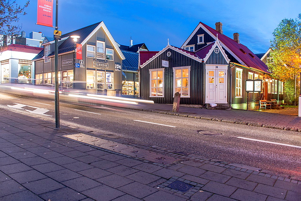 Main street of Reykjavik old town, city centre by night. Iceland.