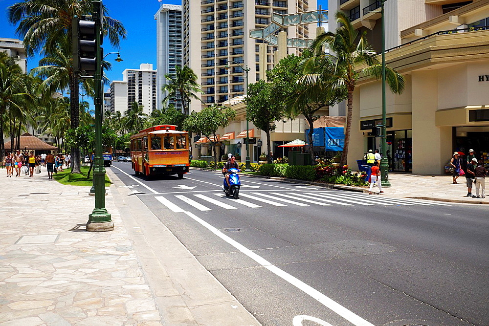 Public transport trolley bus, Waikiki, Hawaii, USA