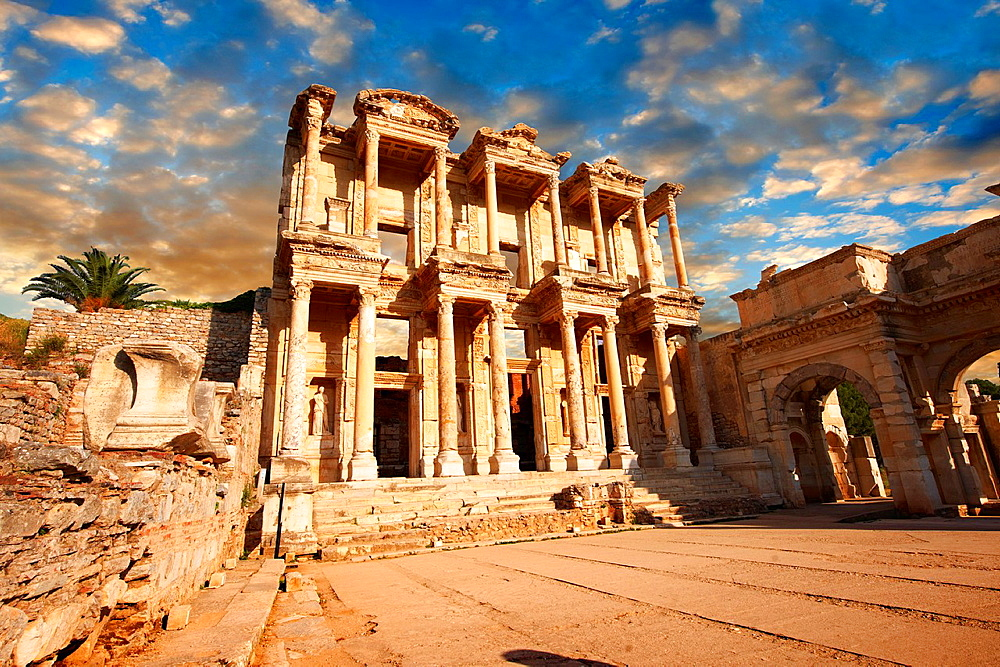 Image of The library of Celsusat sunrise Images of the Roman ruins of Ephasus, Turkey