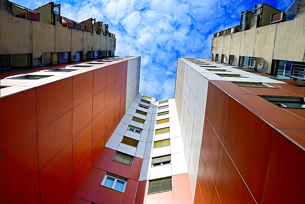 facade of residential building against blue sky, flats, apartments, view from below, Les Avanchets, Geneva, Switzerland, Europe