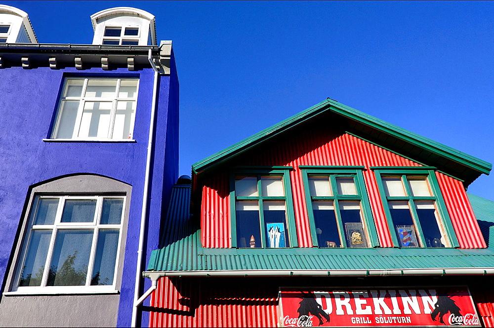 colorful architecture of Reykjavik, Iceland.