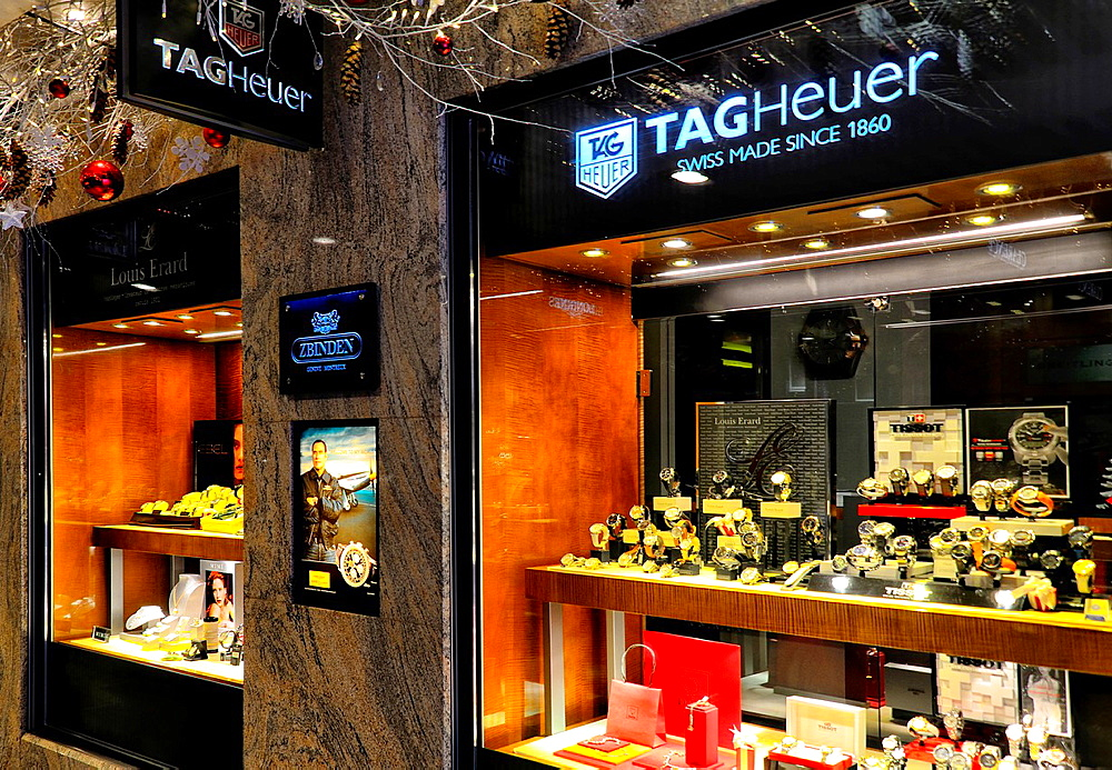 Tag Heuer boutique in Geneva, Switzerland, Tag Heuer is Swiss watchmaker company.