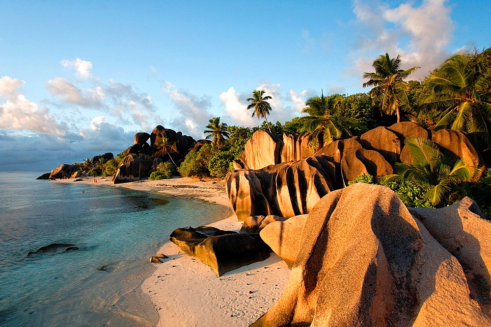 Anse Source d'Argent at sunset - La Digue Island - The Seychelles