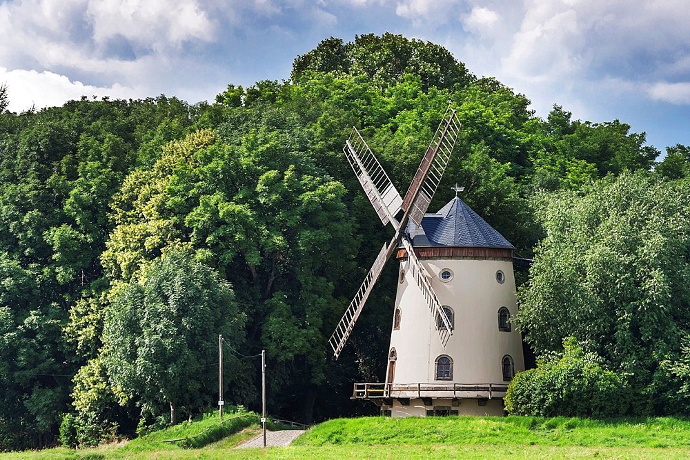 Gohliser windmill is an old tower Dutch wind mill in Dresden-Gohlis near Cossebaude. The Windmill was built in 1828. Dresden, Saxony, Germany, Europe.