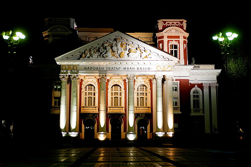 Ivan Vazov national theatre illuminated at night. Sofia, Bulgaria.