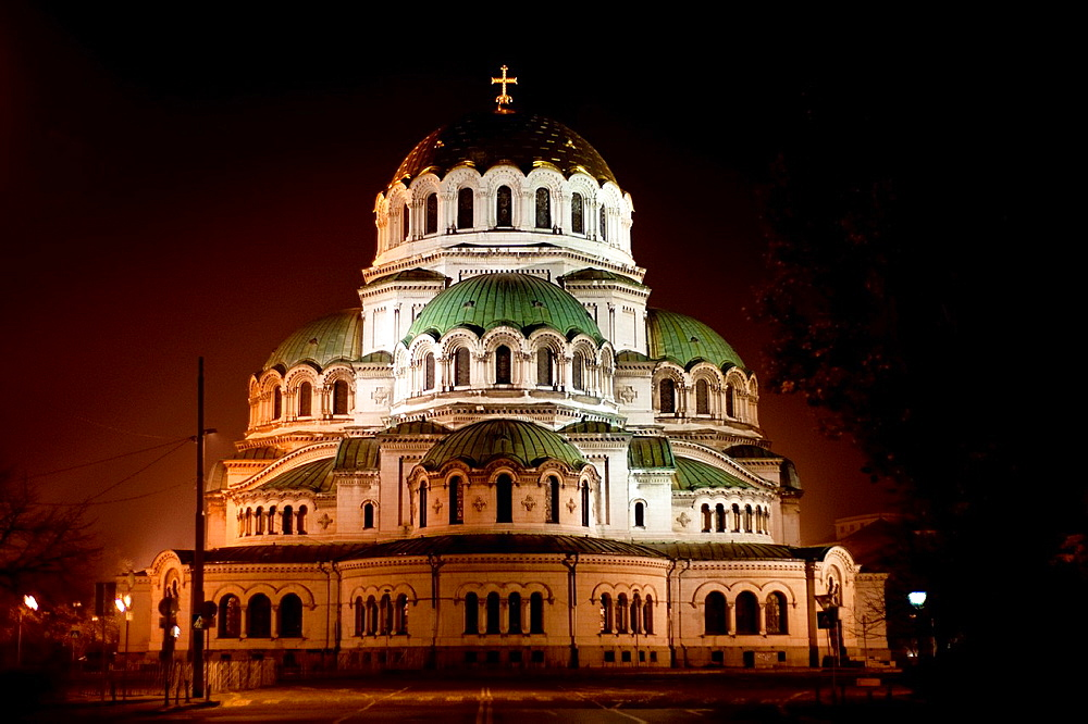 Alexander Nevsky cathedral illuminated at night. Sofia, Bulgaria.