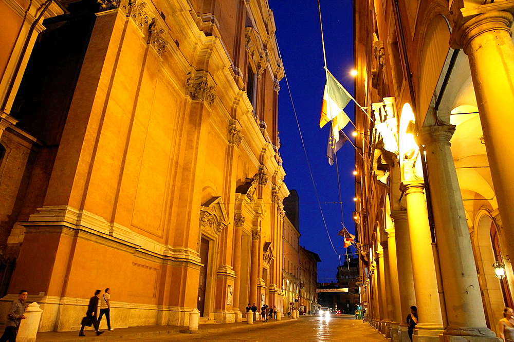 San Pietro church, Via Independenza, Bologna town at dusk, Emilia Romagna, Italy