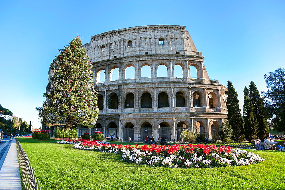 Coloseum at Christmas, Rome, Italy.