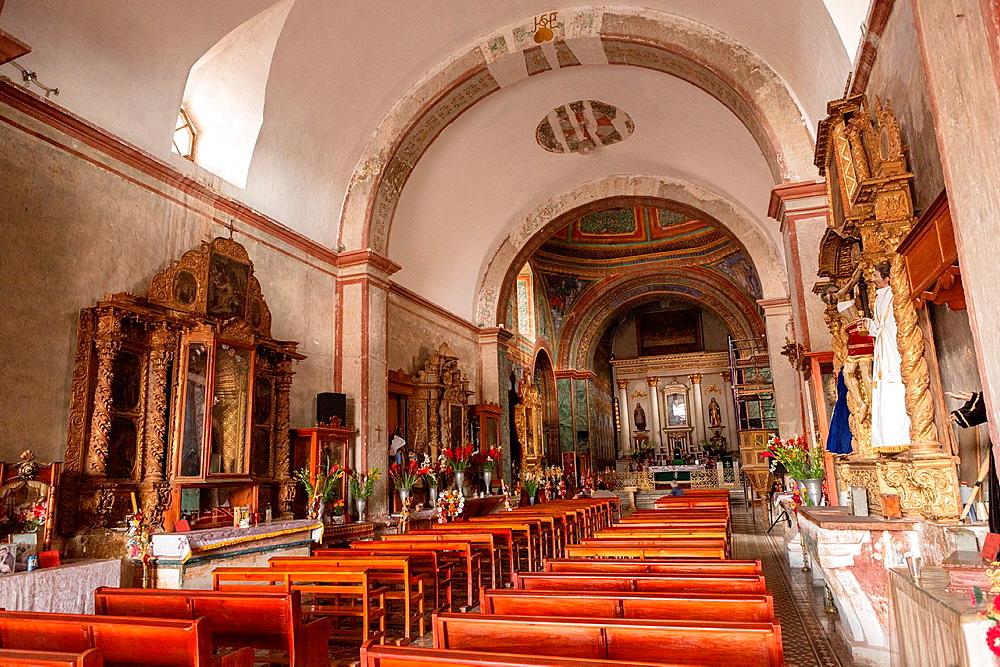 Interior of the Precious Blood of Christ Church or Preciosa Sangre de Cristo Church in Teotitlan, Mexico.