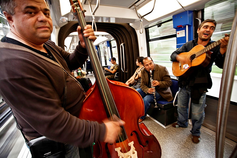 Live Jazz on the subway in Lausanne. Lausanne, Vaud, Switzerland, Europe.