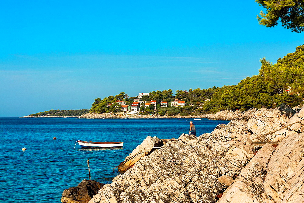 Coastline in Prizba village, Korcula island, Croatia.