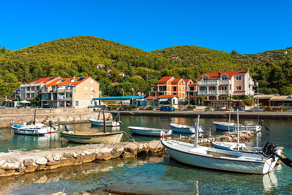 Port in Prizba village, Korcula island, Croatia.