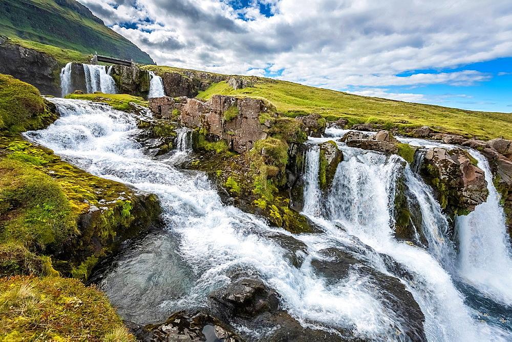 Kirkjufellsfos Waterfalls, (Church Mountain Falls) Grundarfjordur, Snaefellsnes Peninsula, Iceland.