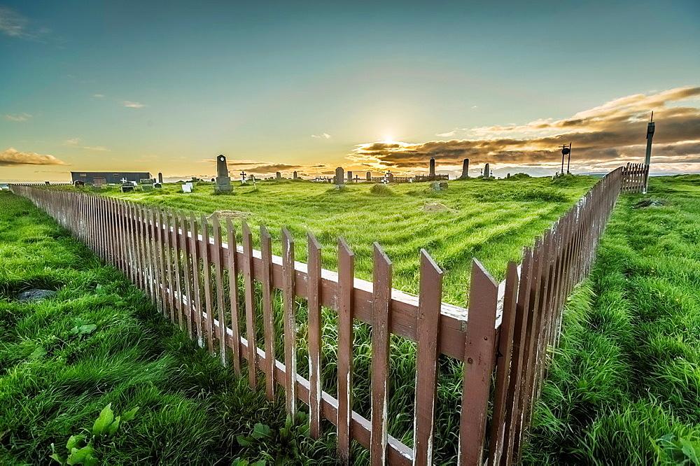 Graveyard on Flatey Island, Borgarfjordur, Iceland.