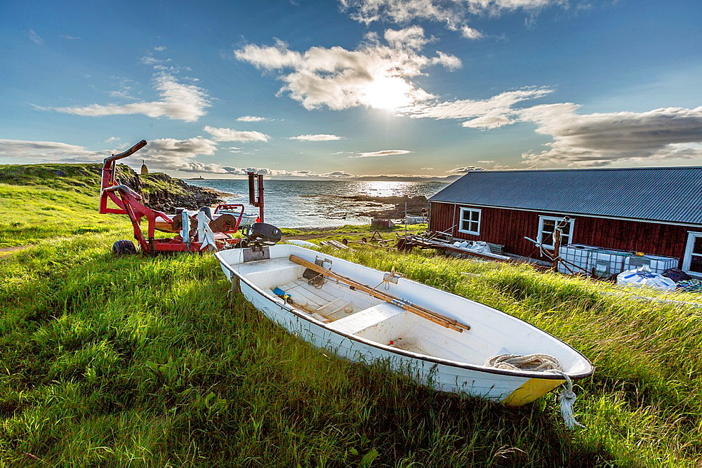 Small boat, Flatey Island, Borgarfjordur, Iceland. - 817-469479