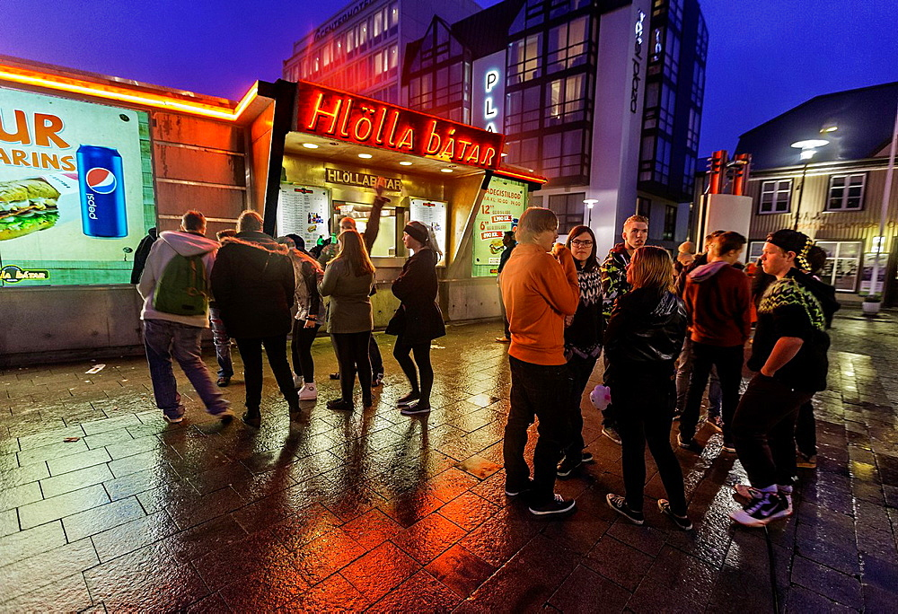 Teenagers gathering downtown Reykjavik, during the annual cultural night, known as Menningarnott, Reykjavik, Iceland.