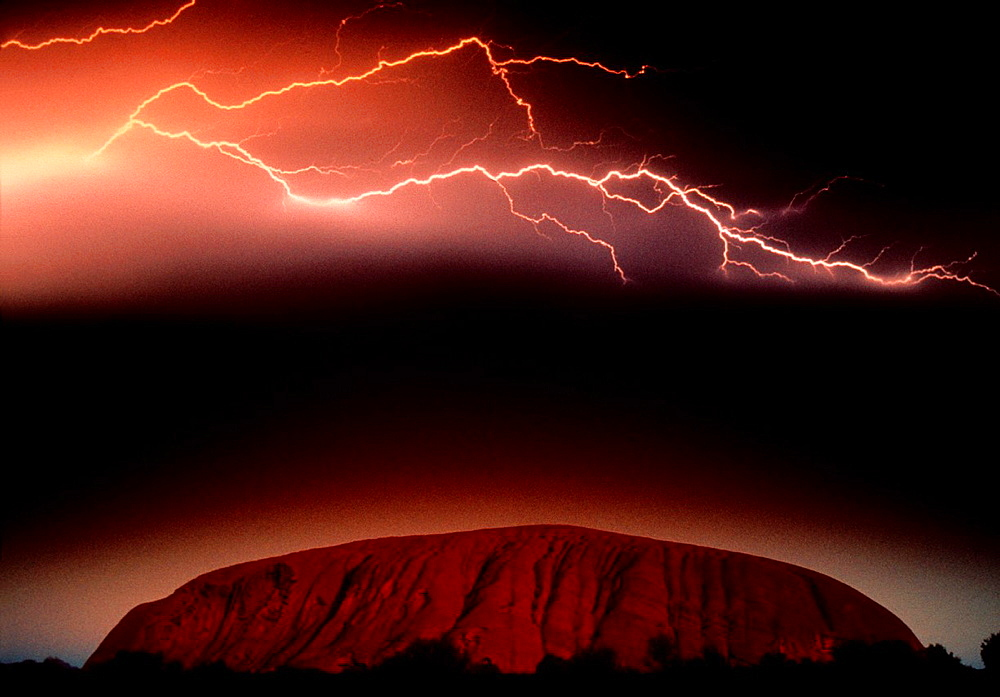 Lightning at Ayers Rock, Uluru-Kata Tjuta National Park, Northern Territory, Australia.