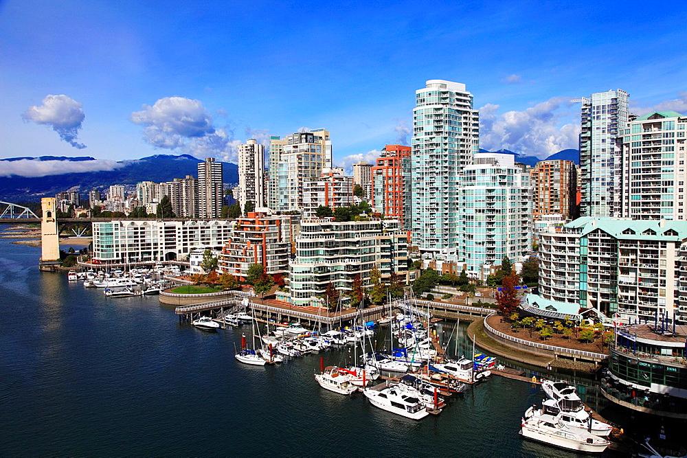 Canada, Vancouver, skyline, False Creek, marina, boats,.