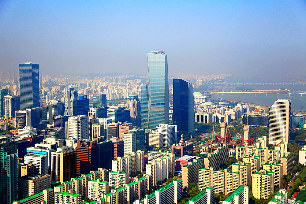 South Korea, Seoul, Yeouido, skyline, aerial view,.