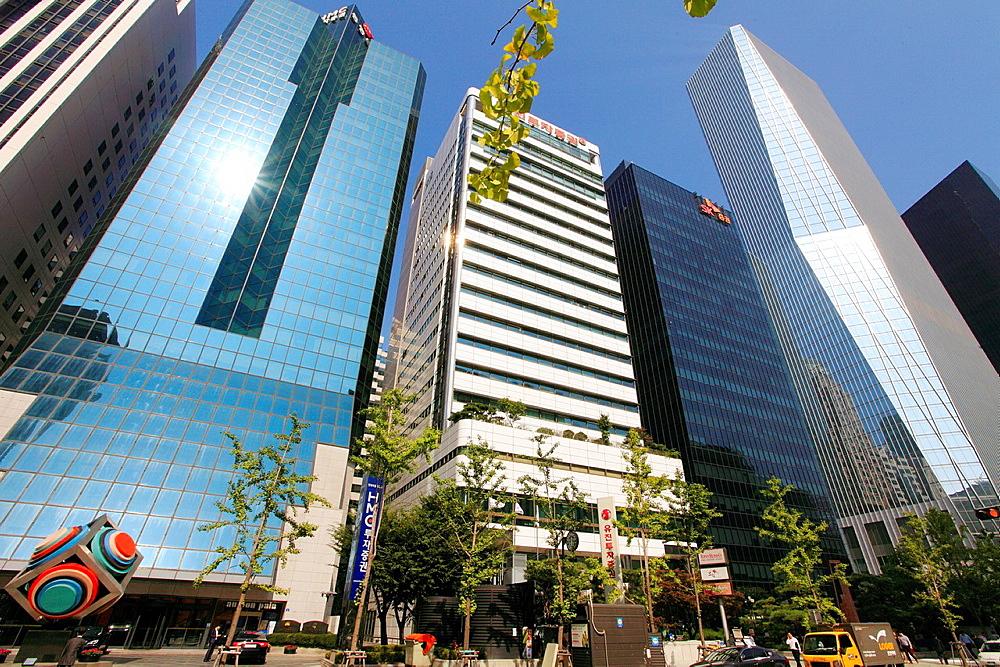 South Korea, Seoul, Yeouido, skyscrapers,.