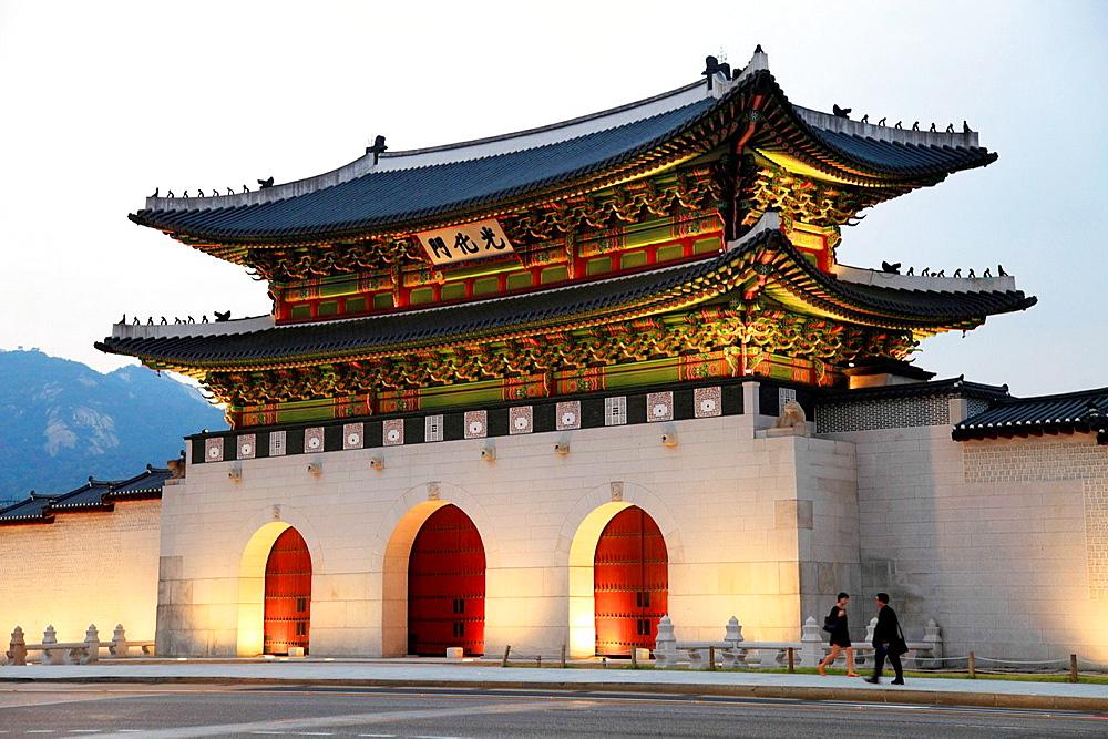 South Korea, Seoul, Gwanghwamun Gate,.