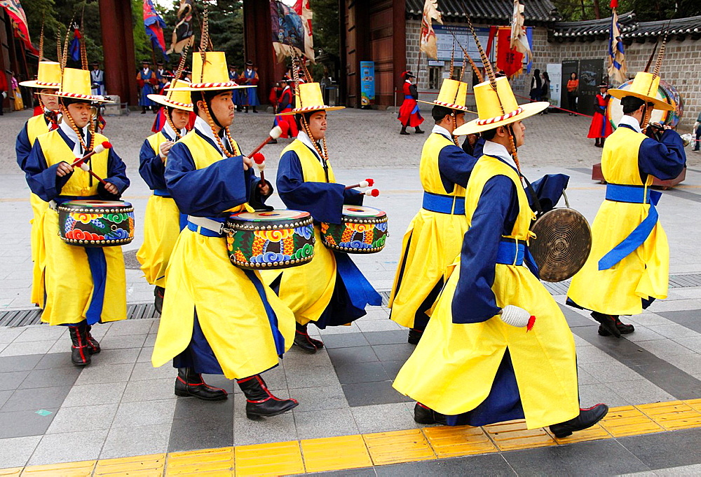 South Korea, Seoul, Deoksugung Palace, changing of the guard ceremony,.