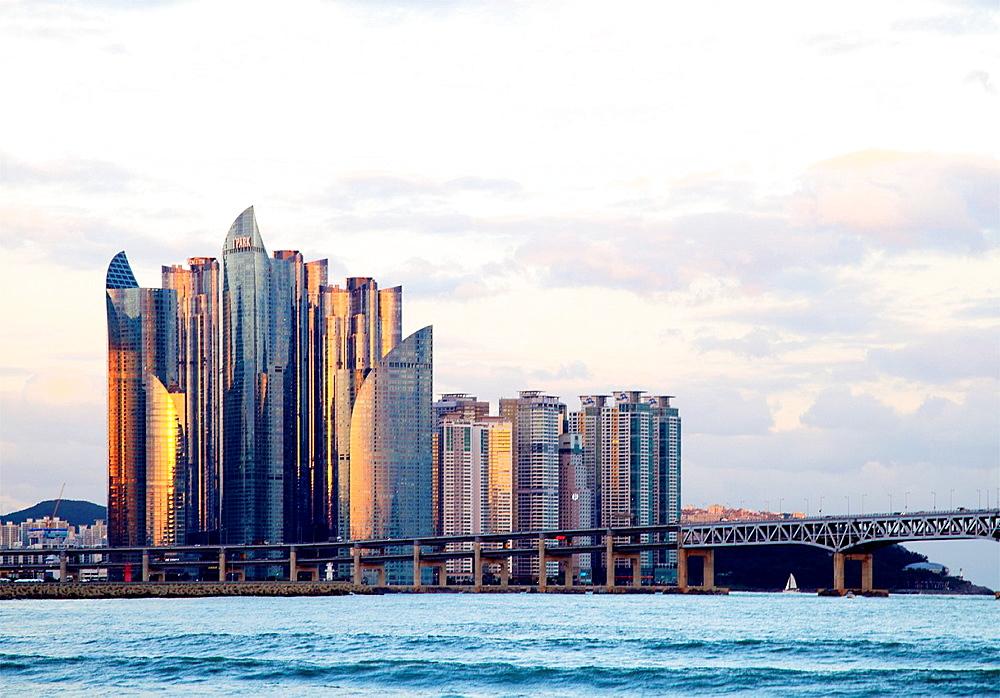 South Korea, Busan, Gwangalli Beach, skyline, skyscrapers,.