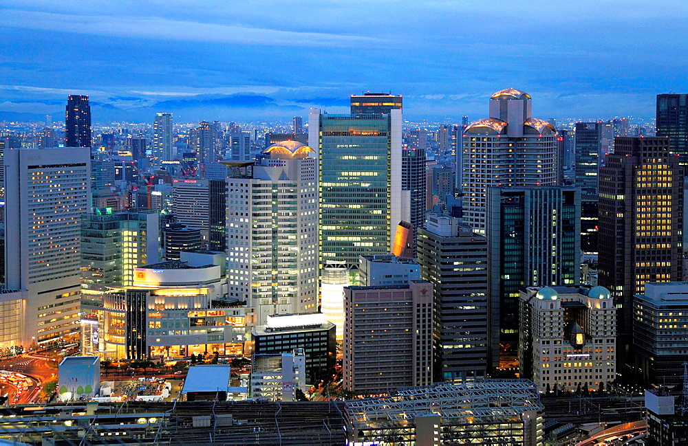 Japan, Osaka, Kita district, skyline, aerial view,.