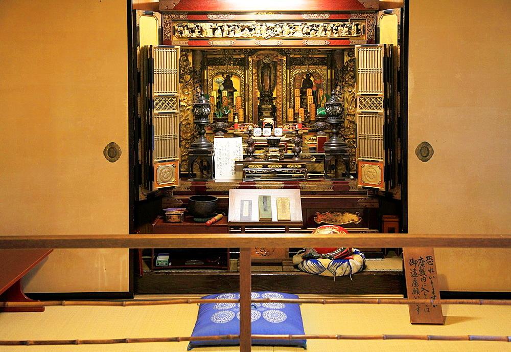 Japan, Hida, Takayama, Yoshijima Heritage House, interior, house altar,.