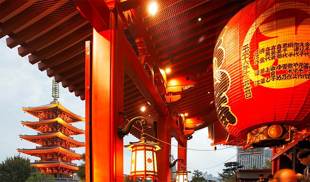 Japan, Tokyo, Asakusa, Sensoji Temple, Pagoda,.