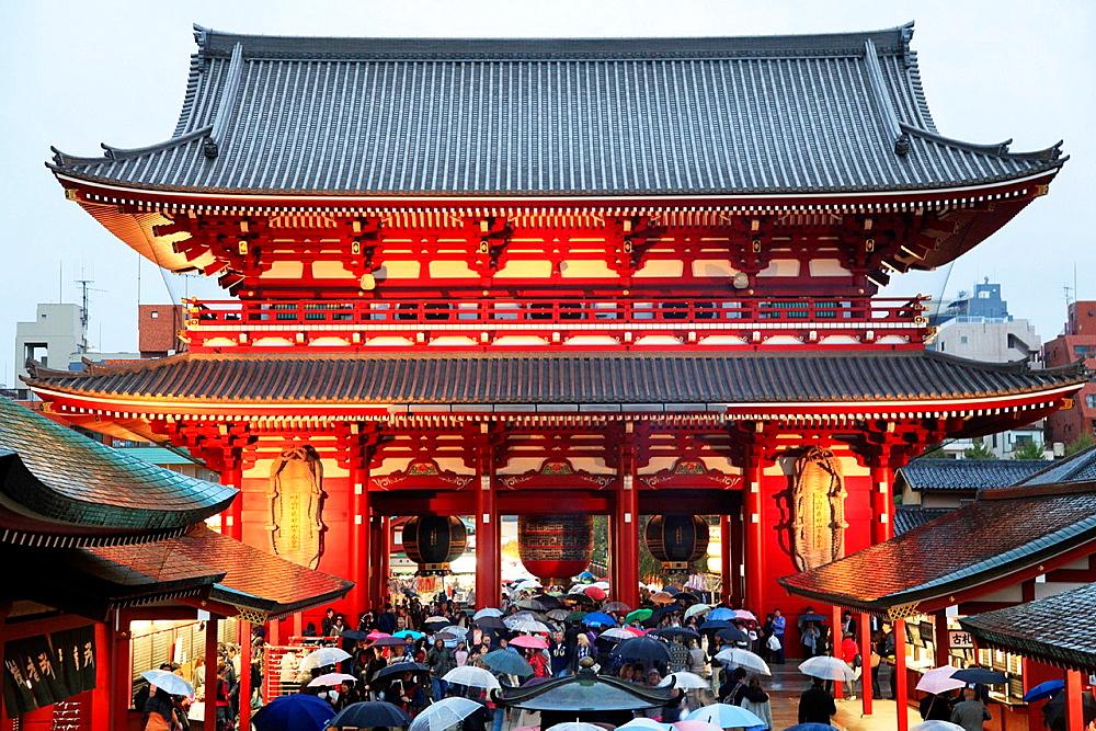 Japan, Tokyo, Asakusa, Sensoji Temple, Hozo-mon Gate,.
