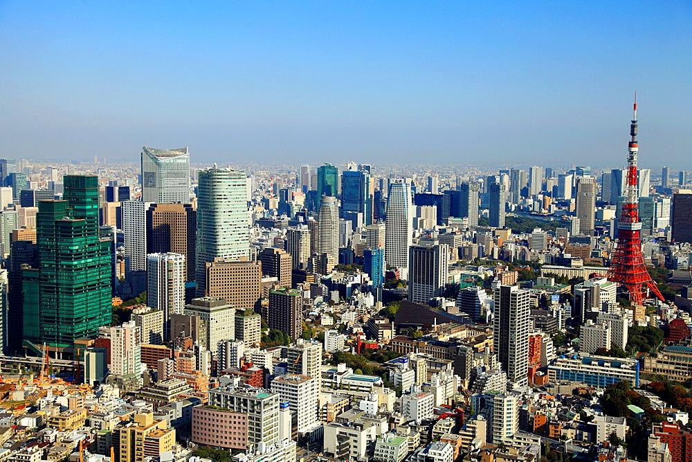 Japan, Tokyo, skyline, general aerial view,.