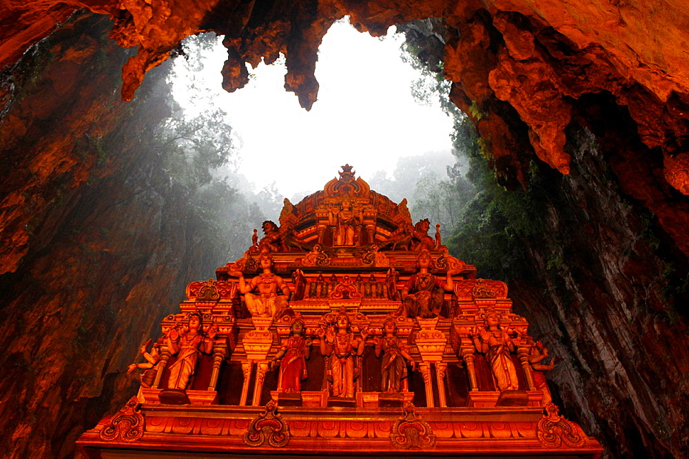 Roof of a temple in Batu Caves are a set of caves, some of which have been converted into temples, in a limestone hill located 10 kilometers north of Kuala Lumpur, Malaysia.