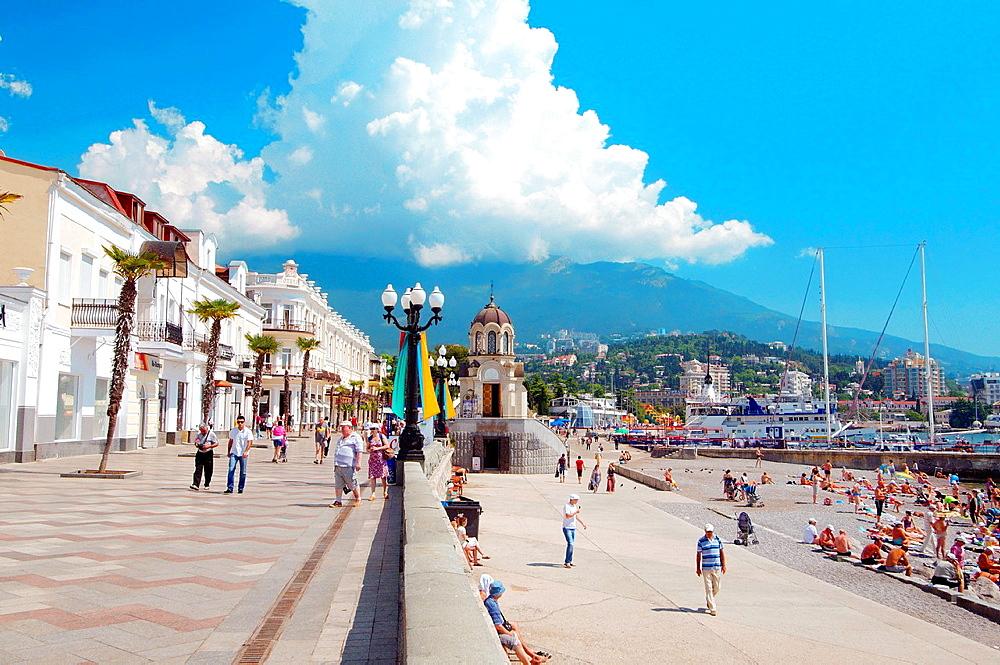 People walk along the promenade at Yalta, Crimea, Ukraine, Eastern Europe.