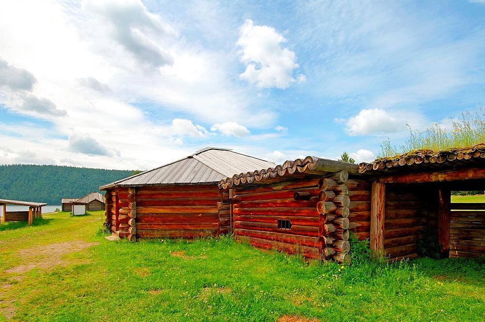 traditional wooden Buryat house, 'Taltsa's' (Talzy), Irkutsk architectural-ethnographic museum. Baikal, Siberia, Russia.
