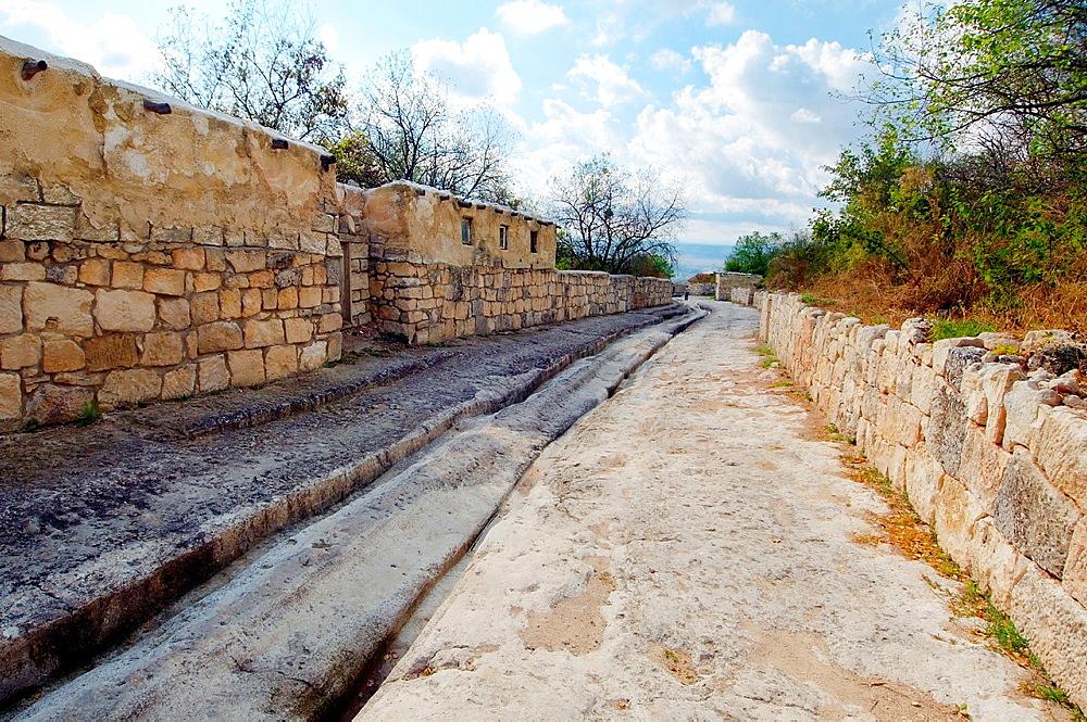 cufut Qale, Chufut-Kale Jewish Fortress, cave city. Crimea, Ukraine, Eastern Europe.