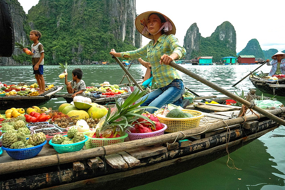 Floating Fruitmarket In Halong Bay, Vietnam