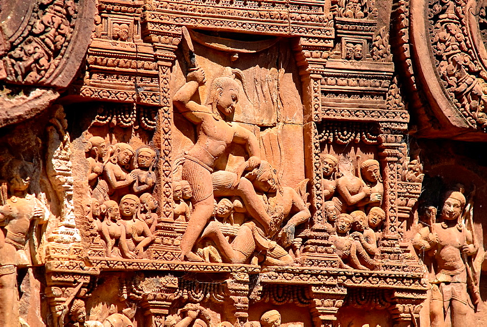 Krishna kills Kamsa, detail of the Banteay Srei temple of the Angkor Wat complex in Cambodia.
