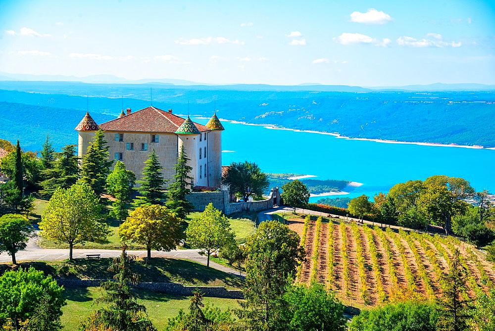 castle at Aiguines with Lake St. Croix, Verdon, Alpes de Haut Provence, France