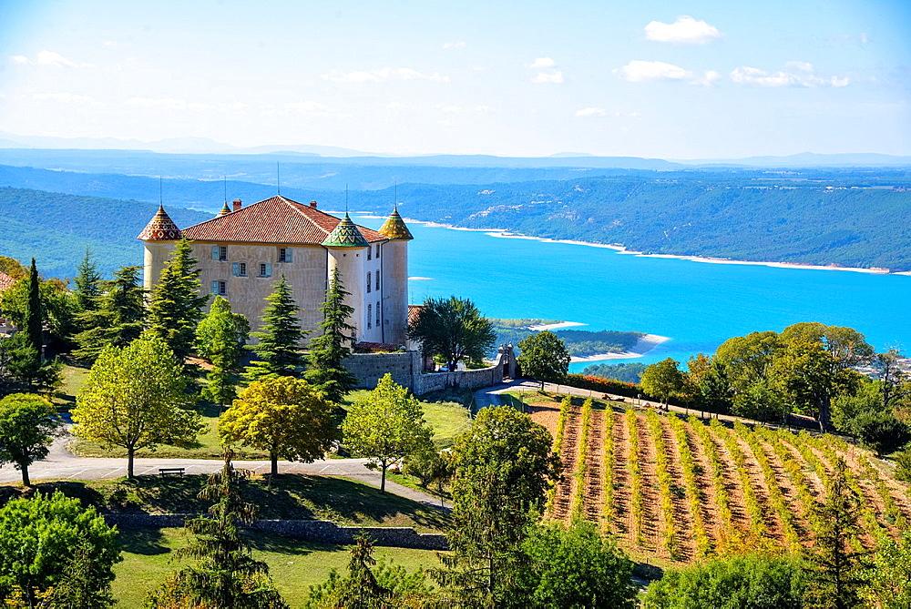 castle and St. Croix lake at Aiguines, Alpes de Haut Provence, France